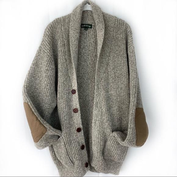 Orvis Mens Wool-Blend Shawl Cardigan Sweater